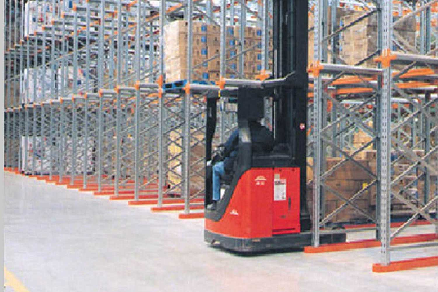 Forklift with Drive-in racking in Warehouse